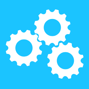 Depicts cogs to show working together
