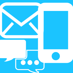 Depicts phone, text and email icons