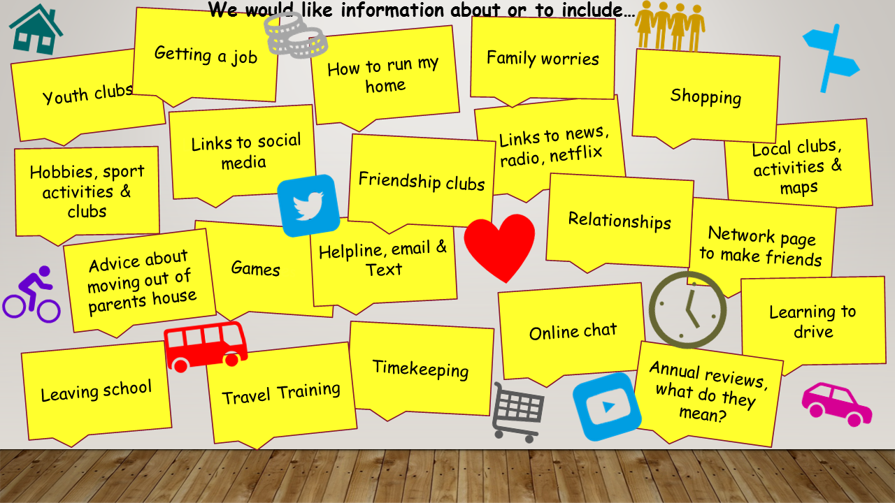 Comments from young people about what they would like information about