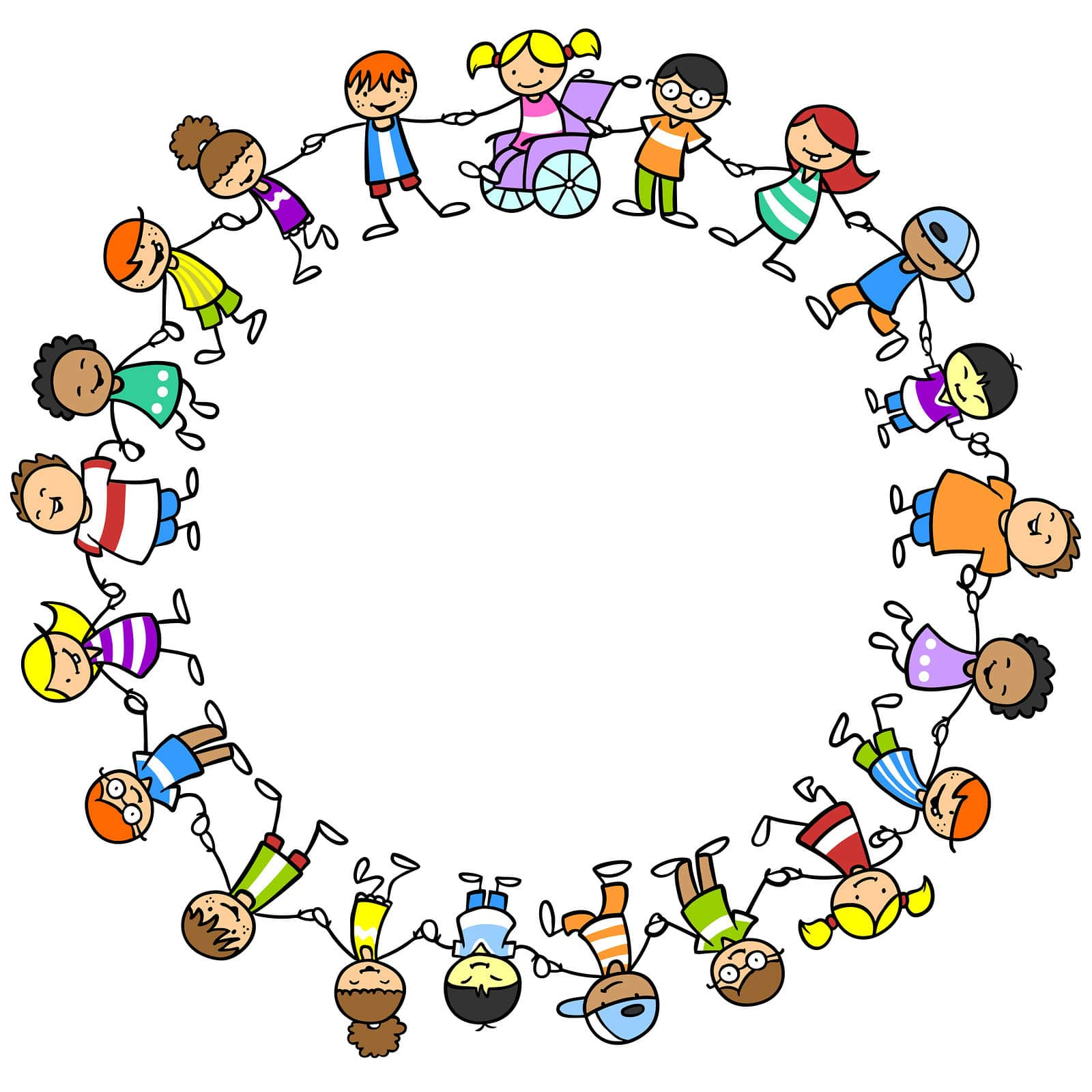 Illustration of diverse happy children holding hands